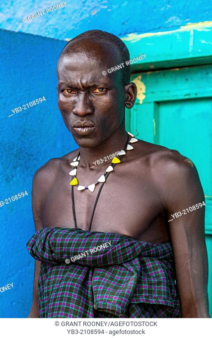 Portrait Of A Man From The Mursi Tribe, Jinka, Omo Valley, Ethiopia