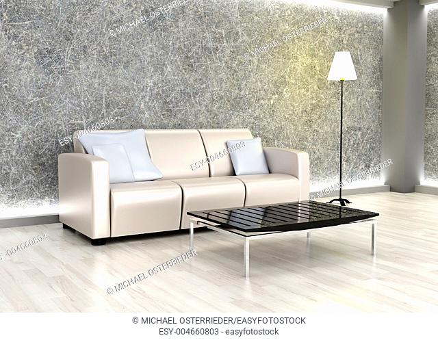 3D rendered Illustration  An living room  Dark concrete style