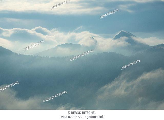 view from summit of Rotwand in morning light, Bavarian Alps, Bavaria, Germany