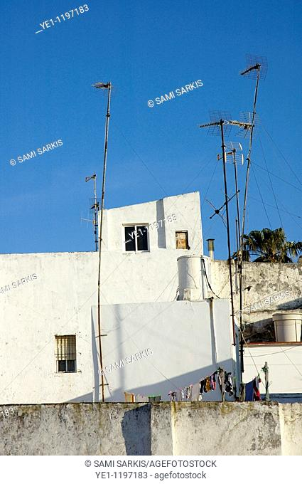 Crooked TV Aerials on rooftops at sunrise, Tarifa, Andalusia, Spain