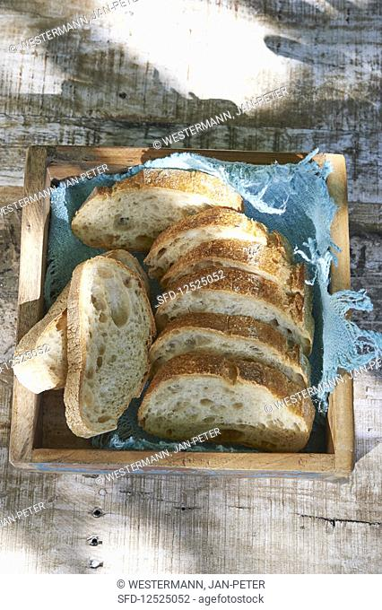 Bread slices in a basket