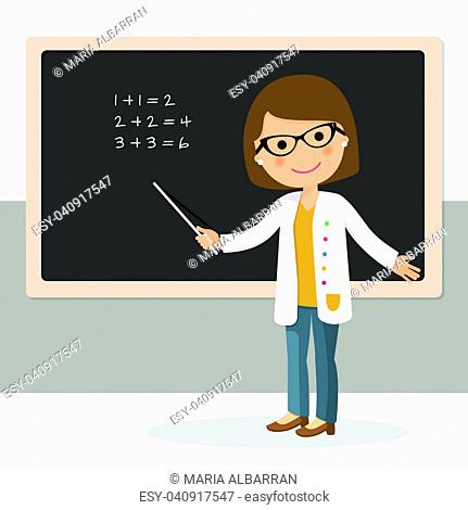 Young female teacher on math lesson at blackboard in classroom. Teacher with pointer, teacher showing on board. Vector illustration