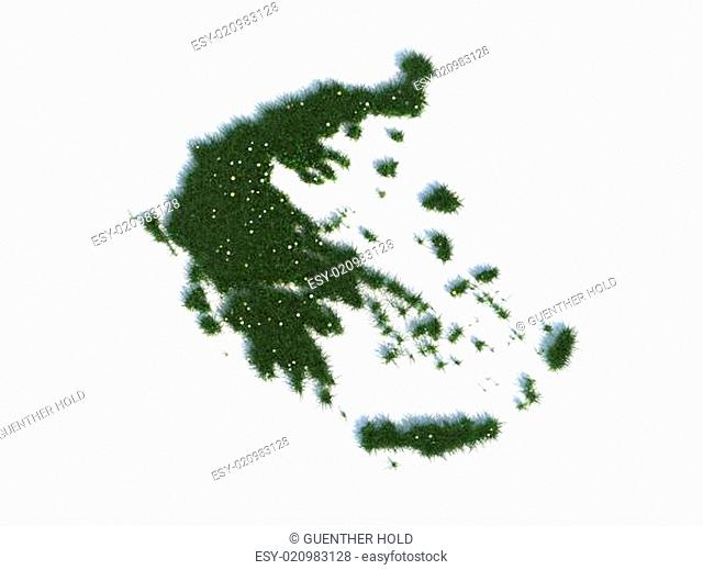 Map of Greece Series Countries out of realistic Grass