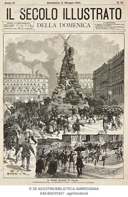 Workers' demonstrations in Turin and in Milan, Italy, May 1, 1890, drawings by A Bonamore, illustration from Il Secolo Illustrato della Domenica, Year II, No 32
