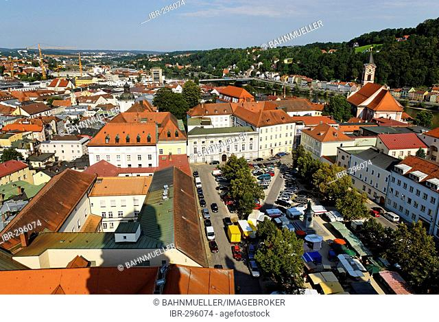 Passau Lower Bavaria Germany from the southern tower of the cathedral to Domplatz with canon's houses and green market