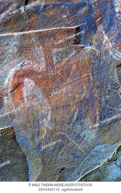 Rock paintings in a ceremonial cave, Ana Kai Tangata, Hanga Roa, Rapa Nui National Park, Easter Island, Chile, Unesco World Heritage Site