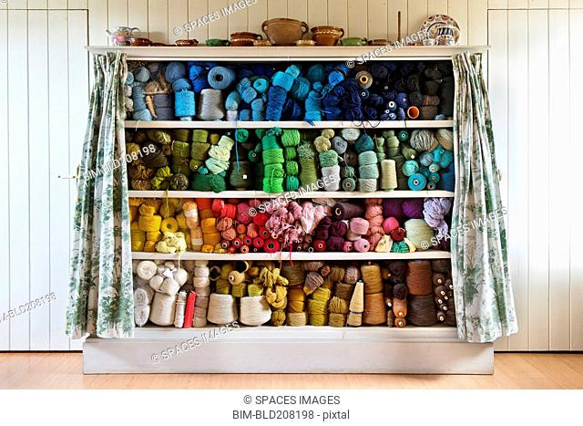 Threads arranged in color order