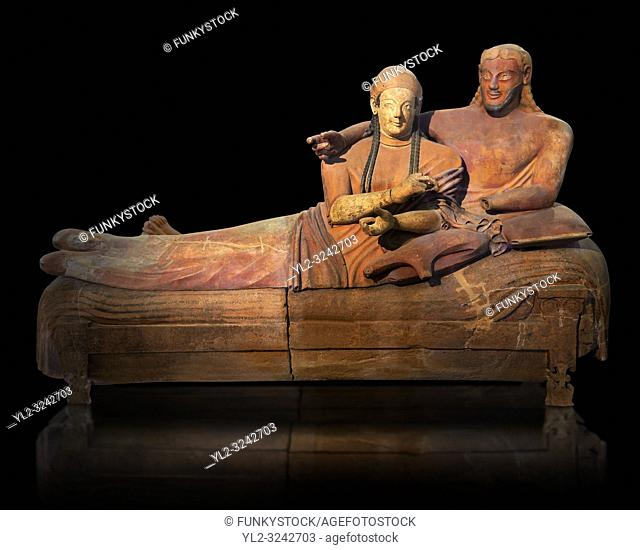 6th century BC Etruscan Sarcophagus known as The Sarcophagus of the Spouses, the in sculpted in clay by the sculptors of Caere, 520-510 BC, Louvre Museum, Paris