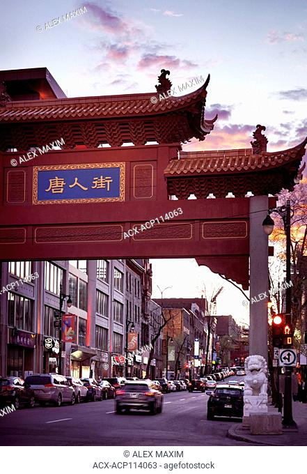 Chinatown entrance gate on Boulevard Saint Laurent in old town Montreal, Quebec, Canada at sunset. Boulevard Saint-Laurent, Ville de Montréal, Québec