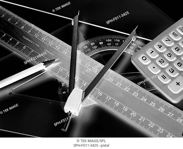Technical drawing equipment and calculator