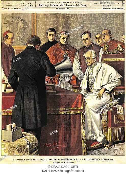 Pope Leone XIII reading the Benediction into a gramophone. Illustrator Achille Beltrame (1871-1945), from La Domenica del Corriere, 29th March 1903