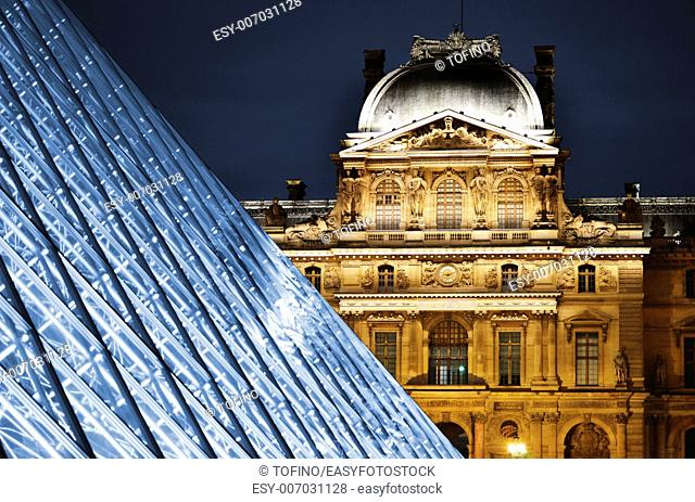 Louvre Museum in Paris, France by night