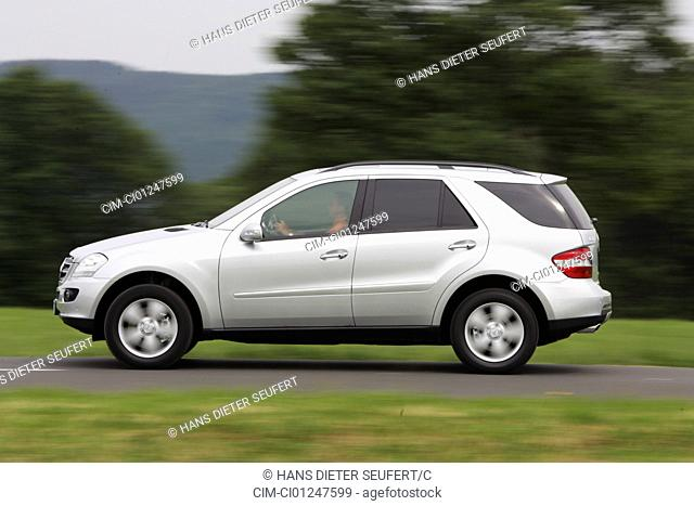 Car, Mercedes ML 500, silver, model year 2005-, driving, side view, country road