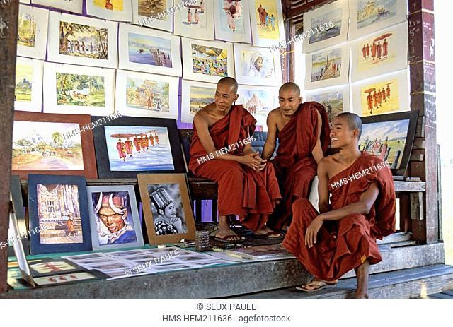 Myanmar Burma, Mandalay Division, Amarapura old city, monks in a small painting gallery on U Bein Bridge