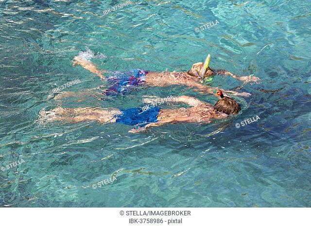 Snorkelers, Binidali, Minorca, Balearic Islands, Spain