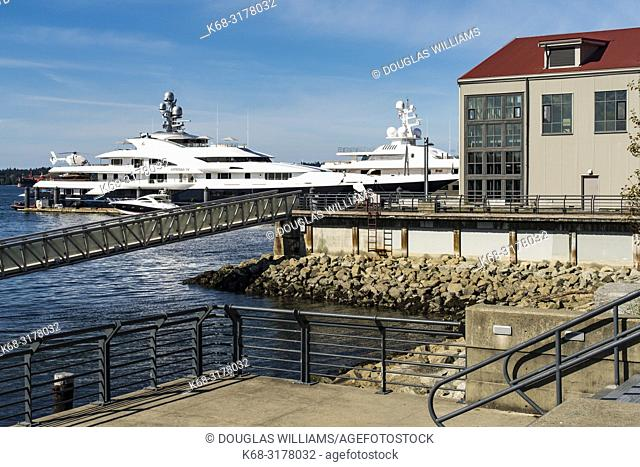 A yacht in the marina in front of the Polygon Gallery in North Vancouver, BC, Canada