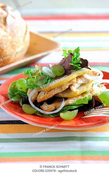 Chicken and fruits mille feuilles