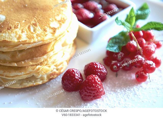 -Sweet Desserts- Pancake with Raspberries