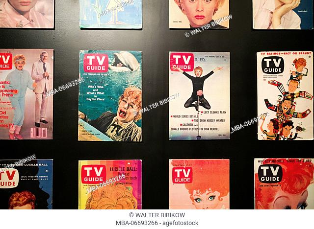 USA, New York, Western New York, Jamestown, Lucy-Desi Museum, dedicated to comedy star Lucille Ball of the 1950s-era TV show, I Love Lucy, TV Guide covers