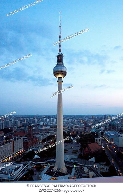 Fernsehturm television tower at dusk in a summer of 2014. Berlin, Berlin-Brandenburg. Germany