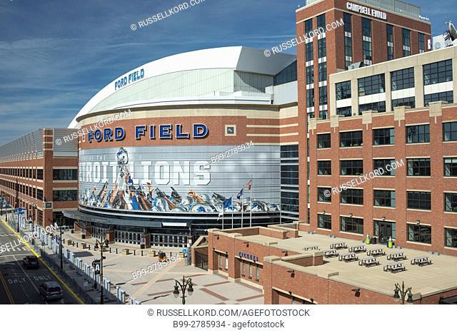 FORD FIELD AMERICAN FOOTBALL STADIUM DOWNTOWN DETROIT MICHIGAN USA