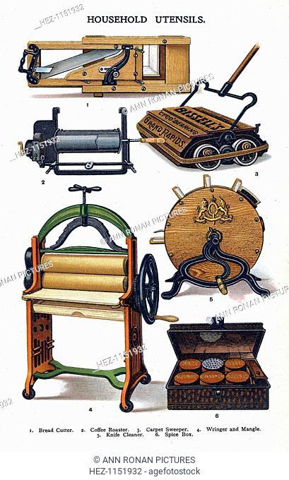 Household utensils, 1906. Bread slicer: coffee roaster: Bissell carpet sweeper: mangle: knife sharpener: spice box. From Mrs Beeton's Household Management