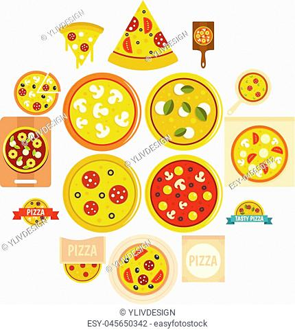 Pizza icons set in flat style isolated vector illustration