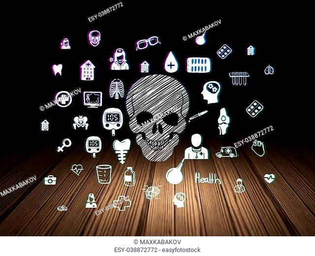 Medicine concept: Glowing Scull icon in grunge dark room with Wooden Floor, black background with Hand Drawn Medicine Icons