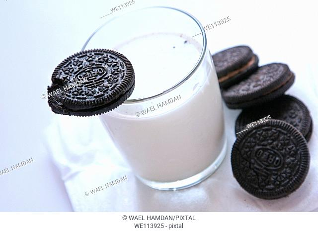 Oreo Cookies biscuit with glass of milk
