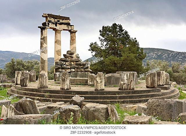 Detailed wiew of the Tholos, Sanctuary of Athena, Delphi, Greece