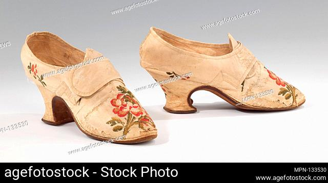 Shoes. Designer: Thomas Ridout (British); Date: 1750-70; Culture: British; Medium: silk; Credit Line: Brooklyn Museum Costume Collection at the museum