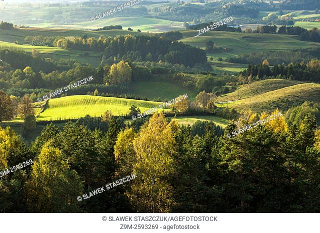 Autumn afternoon in Suwalki Landscape Park, Poland. A view from Cisowa Mountain