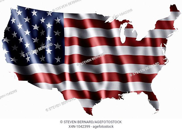 National flag of the United States of America as a map