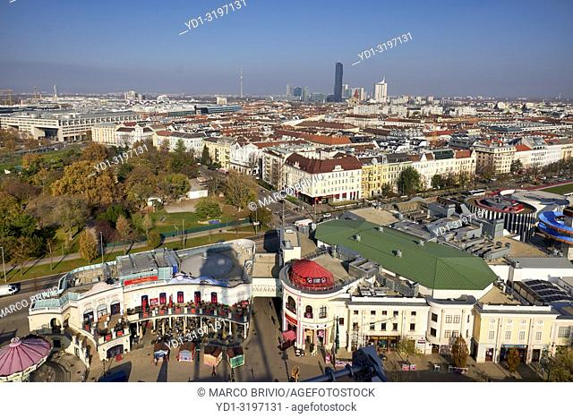 View from the Riesenrad Panoramic Wheel. Prater Park. The oldest ferris wheel in the World. Vienna Austria