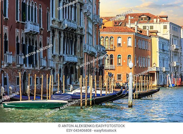Venice view, gondolas in the Grand Canal at sunrise