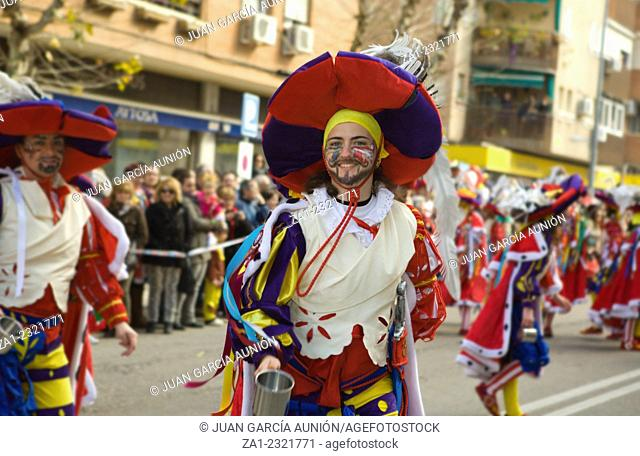 BADAJOZ, SPAIN, MARCH 4: Performers dressed up like army of Flanders taking part in the Carnival parade of comparsas at Badajoz City, on March 4, 2014