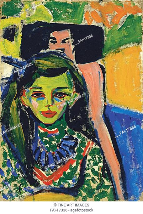 Fränzi in front of Carved Chair. Kirchner, Ernst Ludwig (1880-1938). Oil on canvas. Expressionism. 1910. Thyssen-Bornemisza Collections. 71x49,5