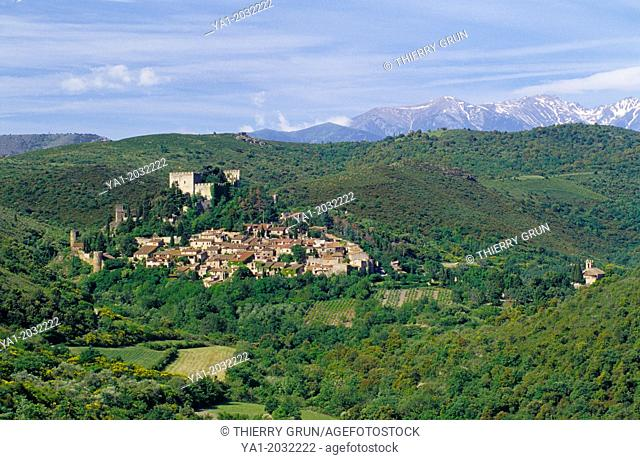 Village of Castelnou and back Canigou peak, Eastern Pyrenees, Languedoc-Roussillon, France