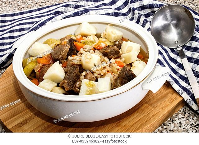 irish beef and barley with potato stew in a terrine