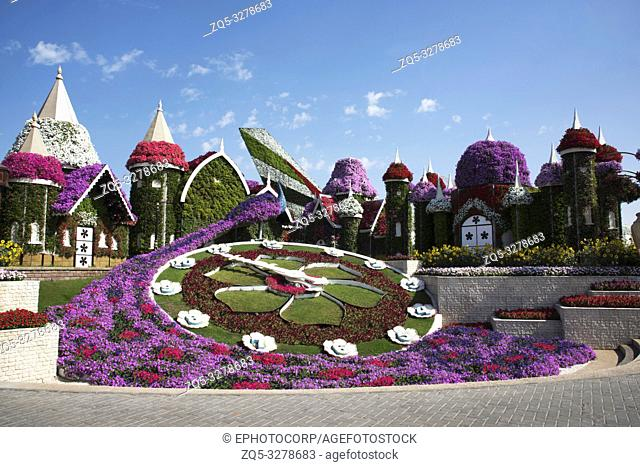 Replica of Disney Castle covered with flowers, Dubai Miracle Garden a flower garden, Dubailand, Dubai, United Arab Emirates