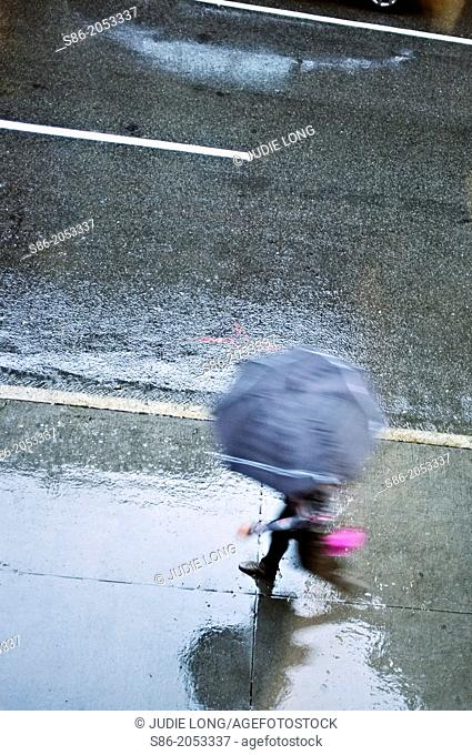Man Holding and Open Umbrella, Rushing Down a Rain Swept Street.n New York City