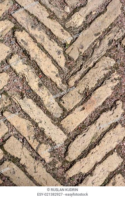 Stone pattern on land roadway