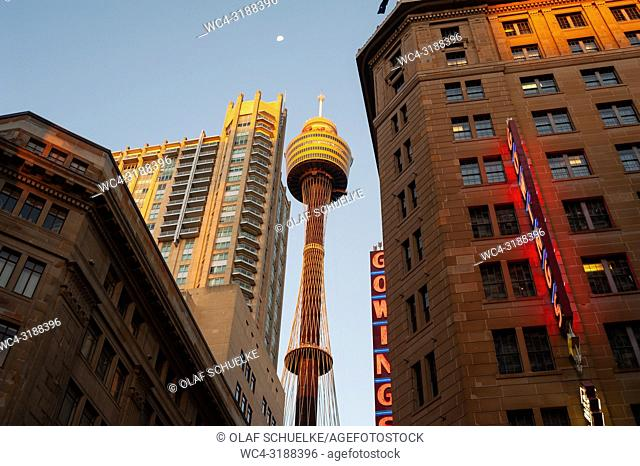 19. 09. 2018, Sydney, NSW, Australia - A view of the Sydney Tower, the city's tallest structure and the second tallest observation tower in the Southern...