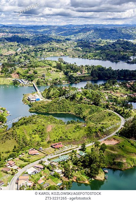Embalse del Penol, elevated view from El Penon de Guatape, Rock of Guatape, Antioquia Department, Colombia
