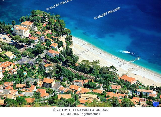 Roquebrune Cap Martin, Cabbe beach, Alpes-Maritimes, 06, cote d'Azur, PACA. France