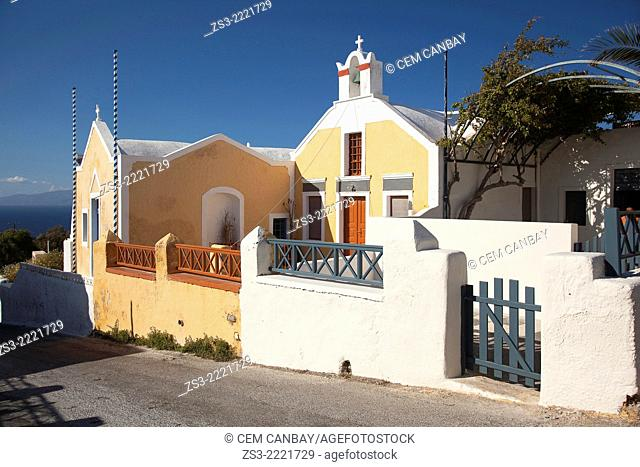 Church with pastel colors in town, Oia, Santorini, Cycldes Islands, Greek Islands, Greece, Europe