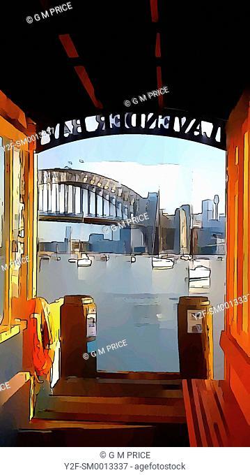 view from Lavender Bay ferry jetty towards the Sydney Harbour Bridge, Australia