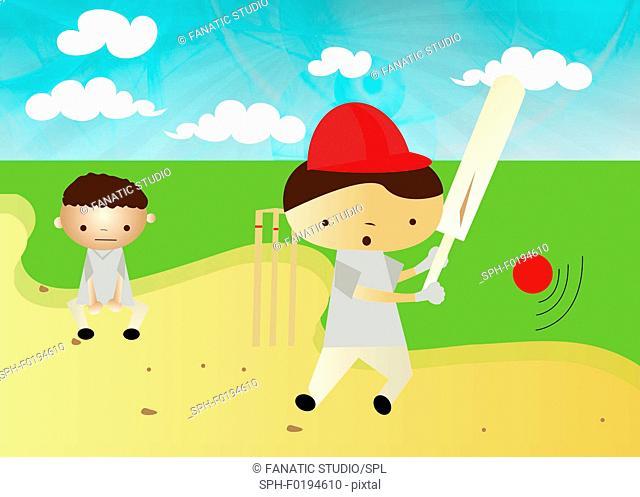 Boys playing cricket, illustration