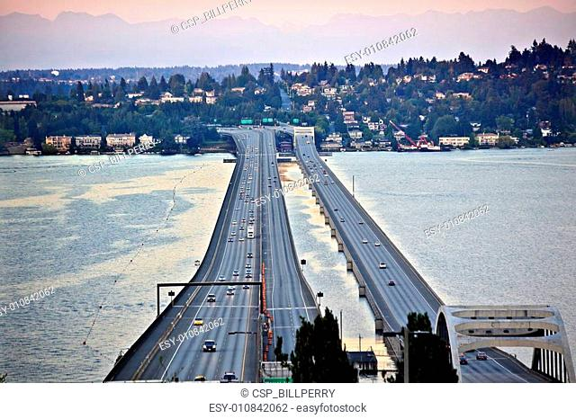 I-90 Bridge Sunset Seattle Mercer Island Highway Cars Mountains Washington State Pacific Northwest