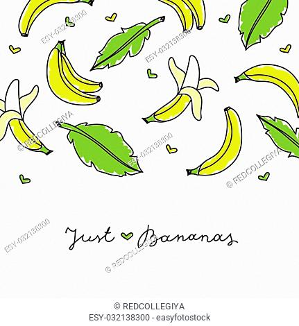 vector hand drawn bananas and leaves on white